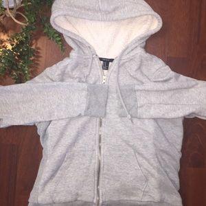 Sherpa Lined Forever 21 Gray Hoodie/Sweatshirt